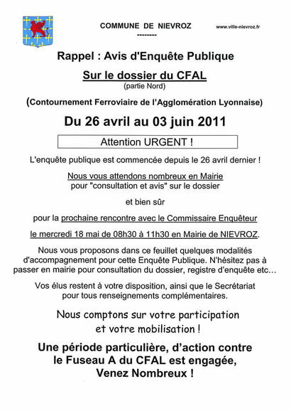 Attention Enquête Publique CFAL